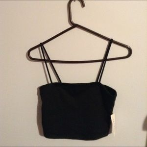 Black cropped tube top